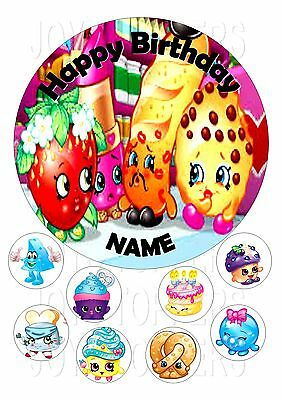 Shopkins Cake Topper Round Edible Icing Frosting 7.5 + 8 Cupcake Toppers