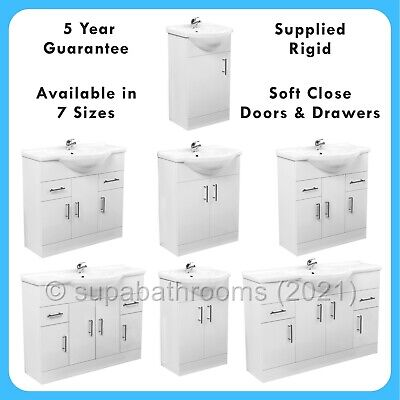 Classic Bathroom/Cloakroom Gloss White Vanity Unit Basin Storage Various Sizes