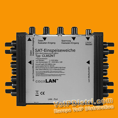 coaxLAN CL852NT SAT Multiswitch 2 Satellites up to 8 Powerline Modem Connections