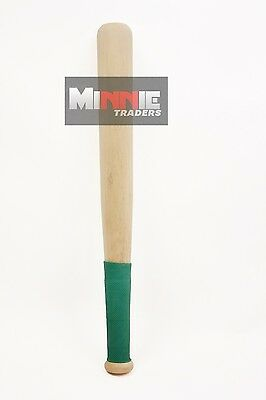 New Rounders Wooden 18 inch Baseball Bat With Green Rubber Grip ( Pack of 2 )