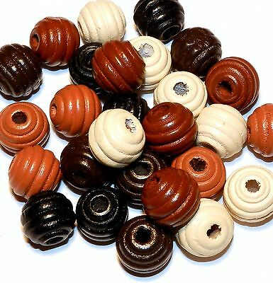 W151f Assorted Multi-Brown Round Fluted 16x15mm Wood Bead 26/pkg