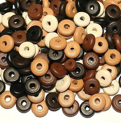 W238f Assorted Brown 11mm Flat Rondelle Wood Beads 30-grams (185pc)