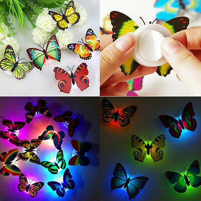 10Pcs Butterfly 3D Wall Sticker Colorful LED Night Light Lamp Kids Bedroom Decor
