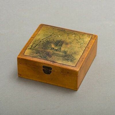 """Antique 1895 Brook's Sewing Cotton Thread Spool Wood Hinged Box 4"""" Square Advert"""