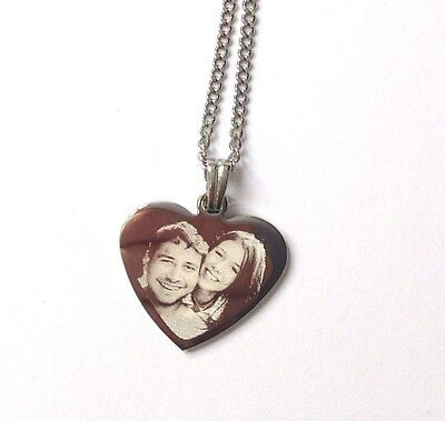 Personalised Photo/Text Engraved Heart Necklace Pendant Gift and Luxury Gift Box