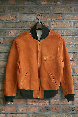 VTG 40s BROWN SUEDE LEATHER DRIVING SPORT JACKET TALON ZIP BOMBER MADE IN USA 42