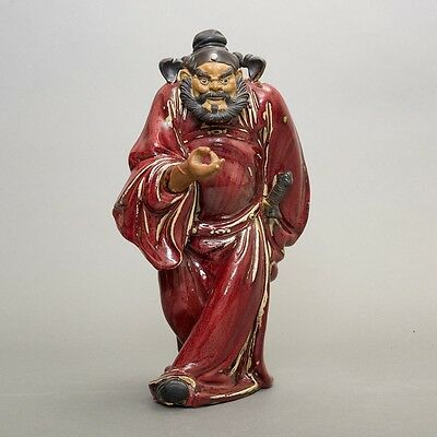 """Signed Vintage Chinese God Chung Kwei Pottery Statue Handmade 15"""" Tall Red Glaze"""