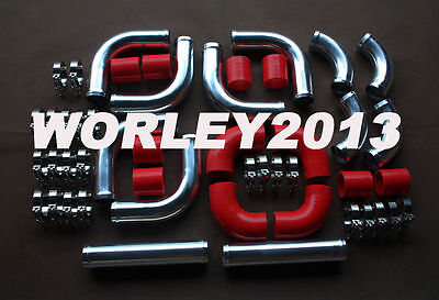 "2.5"" aluminum universal Intercooler Turbo Piping Red hose T-Clamp kits 12pcs"
