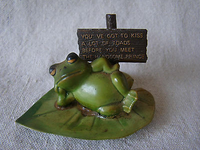 Vintage Ensenco Plastic Toad on Lily Pad Figurine Holding Funny Sign 81637