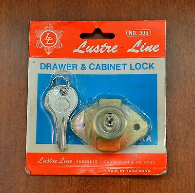 Antique Drawer & Cabinet Lock by LUSTRE LINE w/ Keys
