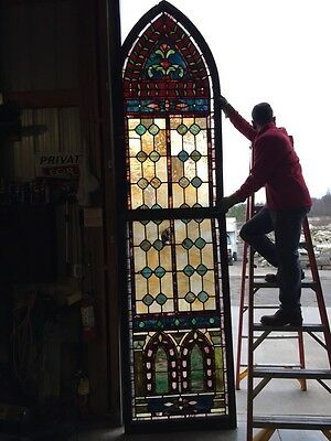 Jt 16 Antique 11 Foot Tall Double Hung Stainglass Window