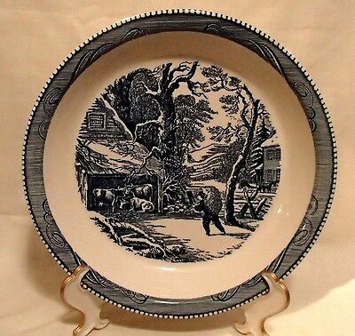 Vintage Currier & Ives Blue and White Pie Plate Baker - Winter Cow Farm Scene
