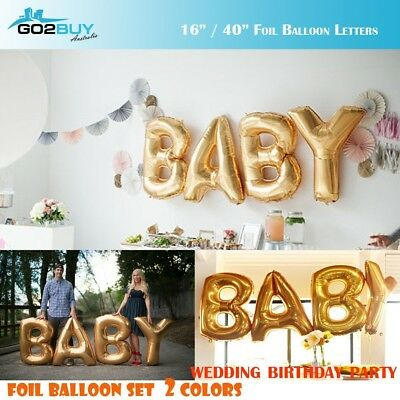 "16""/40"" Golden/Silver Foil Balloon Letters "" BABY"" Set Birthday Party Decoration"