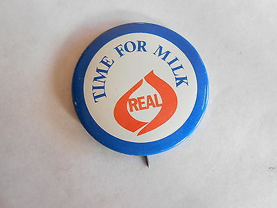 Cool Vintage Time for Milk Real Dairy Advertising Campaign Pinback