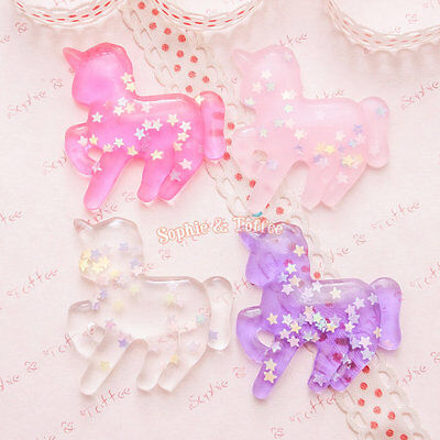 Star Confetti Unicorn Resin Cabochon - 12 pieces