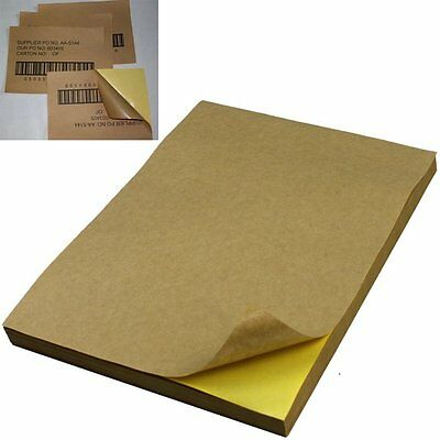 50x A4 Brown Kraft Sticker Paper Sheet Self Adhesive Label Laser Inkjet Printer