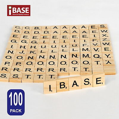 100 Wooden Alphabet Scrabble Tiles Scrapbooking Handcraft Letter set Complete