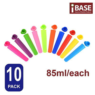 10x Silicone Ice Mould Cream Block Molds icy Pole Jelly Pop Popsicle Maker
