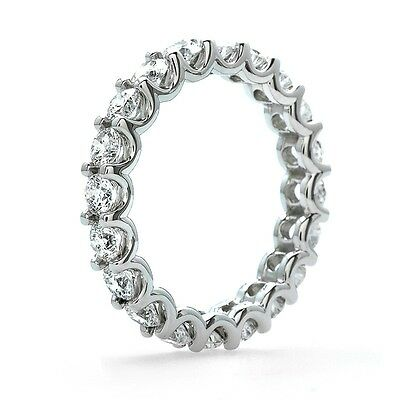 925 Sterling Silver CZ 2ct Eternity Band Wedding Anniversary ring delicate *