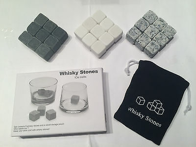 9 pc Gray White Whisky Stones Chilling Cooling Cold Wine Rocks Ice Cubes Pouch