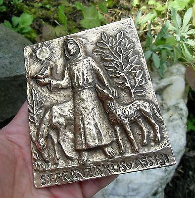 Vintage german Bronze Plaque - Saint Francis of Assisi -  Eva Limberg