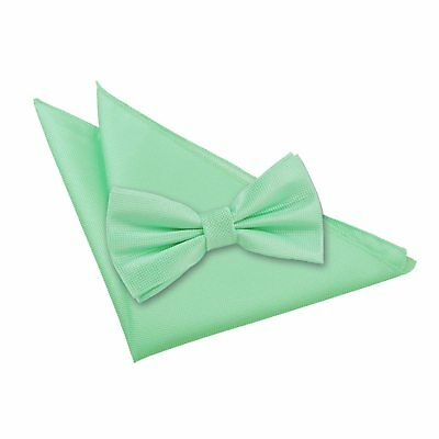 New Dqt Solid Check Mint Green  Men's Pre-Tied Wedding  Bow Tie & Hanky Set