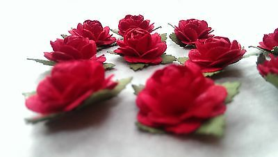 10 Single Roses-Mulberry Paper/Handmade/embellishment/craft/cardmaking/DR01RD