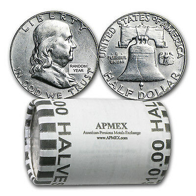 90% Silver Franklin Half Dollars - $10 Face Value Roll - Almost Uncirculated