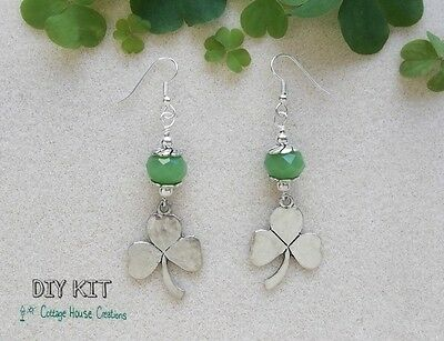 Clovers Earring Bead Kit for Jewelry Making St.Patrick's Day Lucky Shamrock Kit