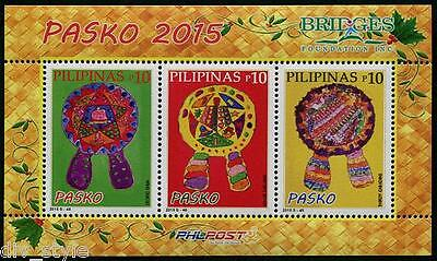 Christmas 2015 Souvenir Sheet of 3 mnh stamps Philippines