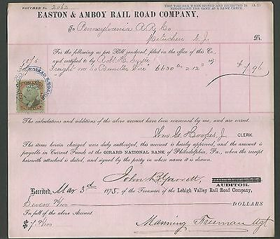 Two Vouchers 1875-6 Issued by Easton & Amboy Rail Road Co. With Revenue Stamps.