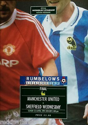 Sheffield Wednesday v Manchester United 1991 League Cup Final Programme