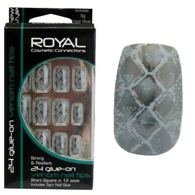 24 faux ongles & colle Venom de Royal peau de serpent gris & argenté false nails