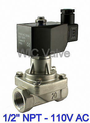 "1/2"" Inch NC Stainless Electric Solenoid Hot Water Steam Valve 110V AC PTFE Seal"