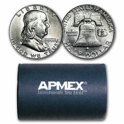 90% Silver Franklin Half Dollars - $10 Face Value Roll (BU) - SKU #26360