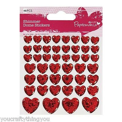 Papermania 46x Shimmer 3D Dome Glitter Heart Stickers Love Valentines Cards  A17