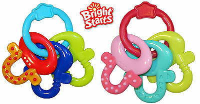 Bright Starts License to Drool Teether Keys, Baby Teething Toy, Pink or Blue