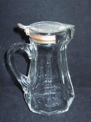 Vintage Thick 8 Sided Paneled Glass Metal Lid Syrup Jug Creamer Pitcher W@W!