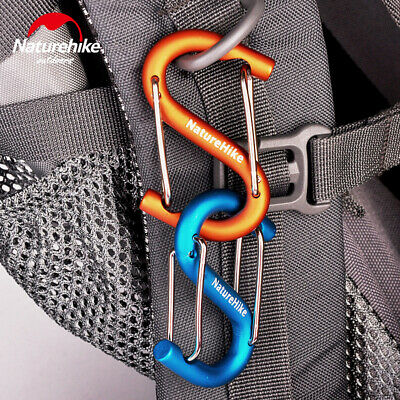 New 6cm Aluminium Alloy Double Gated S-Shape Carabiner Clip Hook Keyring Buckle
