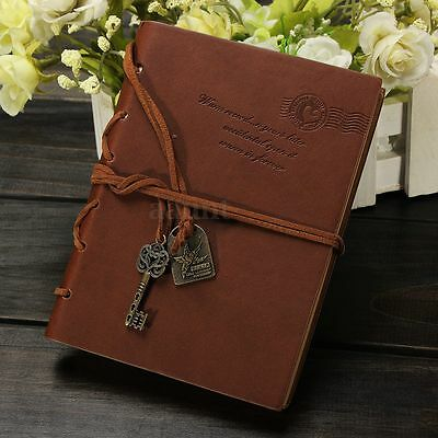 Vintage Key Pendant String Leather Cover Blank  Diary Notebook Journal Notepad