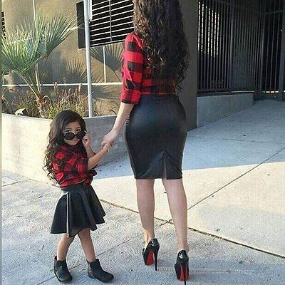 Toddler Kids Baby Girls T-shirt Tops+Leather Skirt Dress 2PCS Set Outfit Clothes