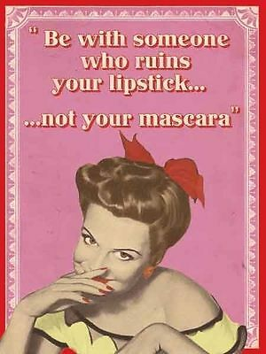 Lipstick Mascara, Makeup 50's-60's Retro Pinup Girl Funny Small Metal Tin Sign