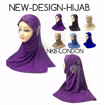 Muslim Ladies Readymade Hijab Headscarf Kids Hijab Scarf With Stone Work