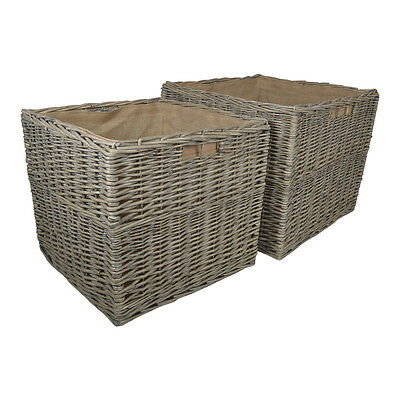 SQUARE GREY WILD WILLOW STORAGE LOG / TOY BASKETS - Choice of Sizes Available