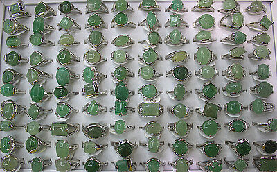 New Wholesale Mixed Lots 60pcs Classic Green Natural Stone Lady's Rings EH358