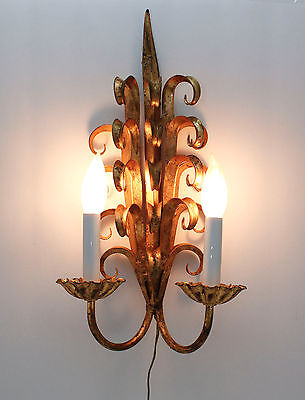 Vintage Italian Wall Sconce Gold Gilt Leaf Scroll Hollywood Regency