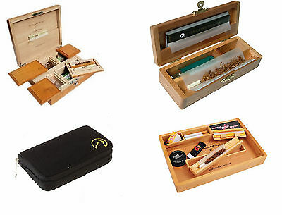 Wolf Productions Deluxe Wooden Rolling Box Tray Pouch Smoking Smokers Stash New
