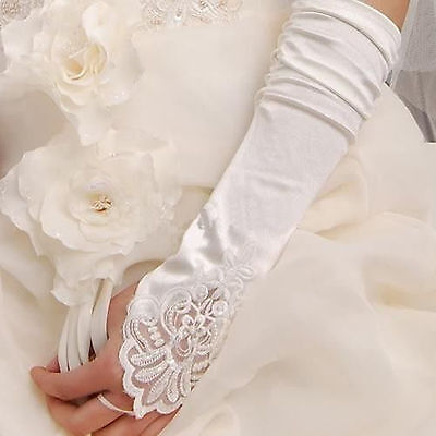 New White long satin lace pearl fingerless gloves wedding bridal gloves