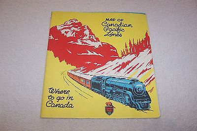 VINTAGE c 1947 MAP OF CANADIAN PACIFIC LINES BROCHURE GOOD COND. htf