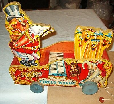 ***early 1942 Fisher Price Circus Wagon Pull Toy***rare***nice Condition
